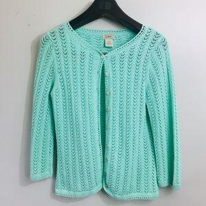 L.L. Bean mint green cardigan sweater. Small